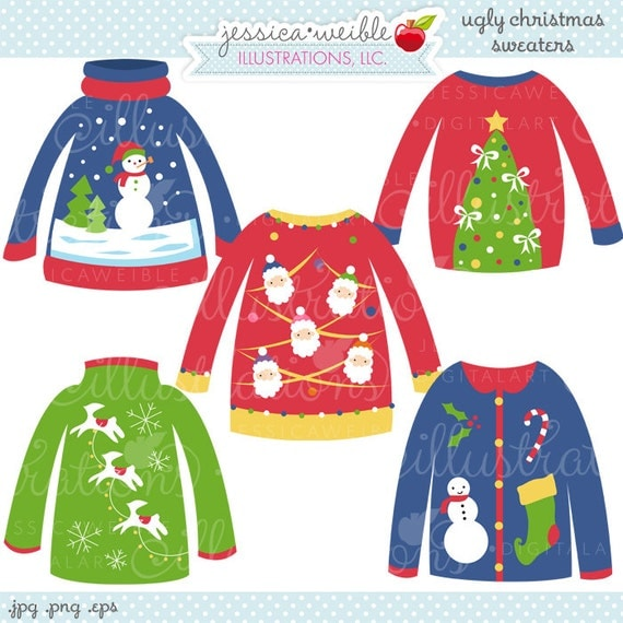 Ugly Christmas Sweaters Cute Digital Clipart Commercial Use