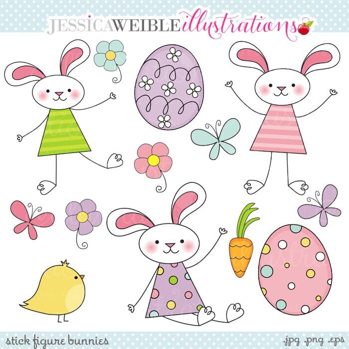 Stick Figure Bunnies Cute Digital Clipart Easter Clipart