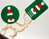 20 Green Santa Christmas Stickers (1.8in / 1.4 x 2in)