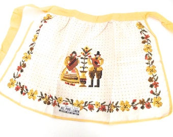 Vintage New Old Stock Linen Half Apron with Folk Art Design with Golden Yellow Trim