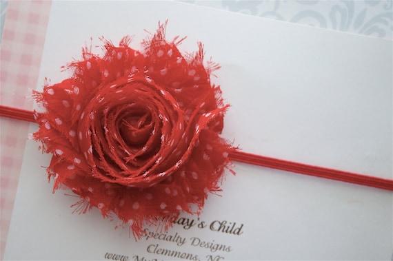 Shabby Chic Headband in Red Polka Dots - Red Baby Headband, Baby Headband, Baby Girl Headband, Toddler Headband, Girls Headband