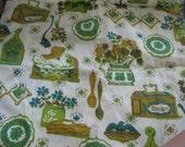 Vintage Fabric , Kitchen Wares, Chickens, Spoons, Recipe Box, Retro