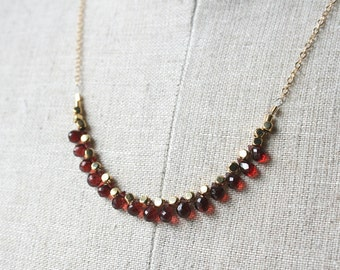 Garnet Necklace, Birthstone Necklace, Garnet Jewelry, January Birthstone, Gemstone Jewelry, Red Garnet