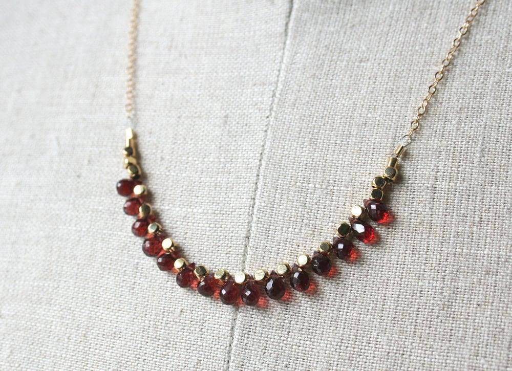 garnet necklace january birthstone gemstone jewelry