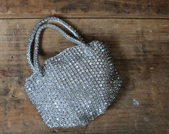art deco rhinestone purse - 1930s czechoslovakia - prong set - rhinestone bag - evening bag - bridal purse
