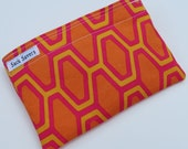 Reusable Eco Friendly Sandwich or Snack Bag Pretty Orange Pink Yellow Geometric
