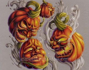 "Halloween Jack-o-lanterns 8""x10"" Giclee Print - ""Jacks"""