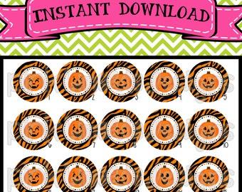 """Zebra Halloween Pumpkins - INSTANT DOWNLOAD 1"""" Bottle Cap Images 4x6 - 529"""