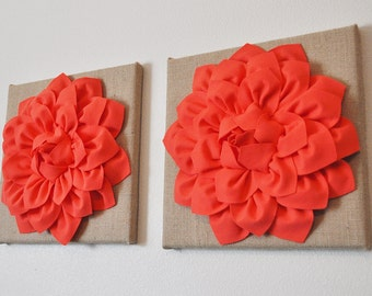 """TWO Wall Canvases - Coral Dahlia Flowers on Burlap 12 x12"""" Canvas Wall Art- Rustic Home Decor-"""