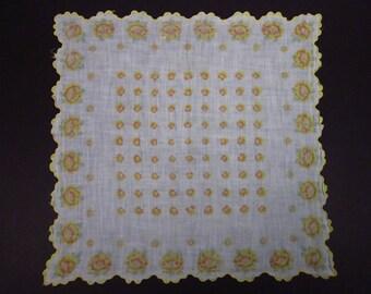 Vintage Handkerchief Yellow Floral (vh142)