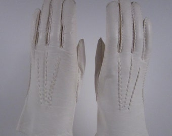 6-1/2 - Vintage White Kid Leather Dress/Church/Prom Gloves - 9 inches long(508g)