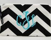 Monogrammed Cosmetic Bag ~ Purse Sized Make Up Bag ~ Personalized Make Up Bag ~ Bridesmaid Make Up Bag