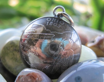 Domed Antiqued Ohio Quarter Pendant with Handmade Sterling Silver Bail MADE TO ORDER.