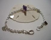 Sale, sale, sale, heart bracelet, purple wire wrapped glass, small silver hearts, silver plated bracelet, purple focal bead, lead free