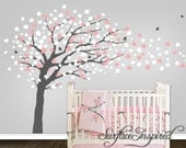 Wall Decal Nursery Tree - Large Contemporary Cherry Blossom Tree Wall Decal with Butterflies and Blowing Blossoms. Large Tree Wall Decal