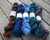 Mini Skeins - superwash merino sock yarn fingering weight - set 8