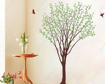 My green tree with flying birds- Vinyl Wall Decals, Stickers, Wall Murals