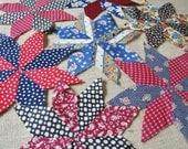 Vintage Quilt Blocks 8 Point Star Blocks Lot of 25 Stars