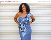 50% OFF super glam sequined wiggle dress // cornflower blue shimmer dress