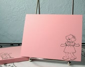 Childrens Stationery Handmade With Build A Bear Image to Color Note Cards for Child Stationary