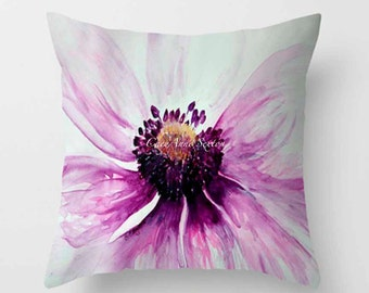 Watercolor Purple Anemone PILLOW white bright flower Fine Art Home Decor Throw Pillow cover