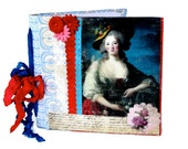 Handmade  French Portrait Journal  Encaustic Collaged Journal Photo Album Sketch Book    Blank  Acid Free Pages