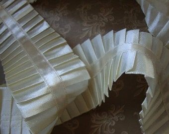"2"" Wide Ivory Satin Pleated Ribbon Ivory Trim Pleated Trim Ruffle Trim Made in Usa S111"