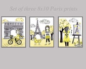 "Yellow gray nursery art,Paris baby girl children kids room decor, art prints set of three 8x10"""