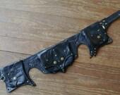 Nebula Black leather and python 3 pocket steampunk diesel punk utility belt bag
