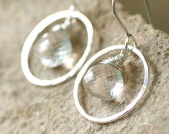 Rock crystal earrings, April birthstone jewelry, rock crystal jewelry, silver bridal earrings - Celestine