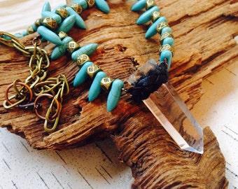Quartz Crystal Necklace/ Turquoise Necklace/ Tribal Necklace/ Festival Jewelry/ Boho Chic/ Natural Gem Stone/ Spear Neckpiece/