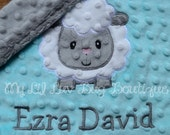 Personalized baby blanket minky-saltwater blue and silver/grey lamb- lovey blanket
