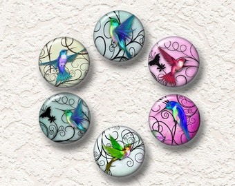"Hummingbird Magnets  Set Of 6 Magnets 1.25"" in Size Buy 3 Sets Get 1 Set Free  6-001M"