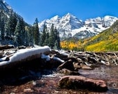 CANVAS: Maroon Bells Snow-Covered Mountains (photo, various sizes)