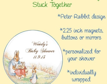 Peter Rabbit Baby Shower Favors - 2.25 Inch Magnets, Buttons or Mirrors - Set of 10 Favors