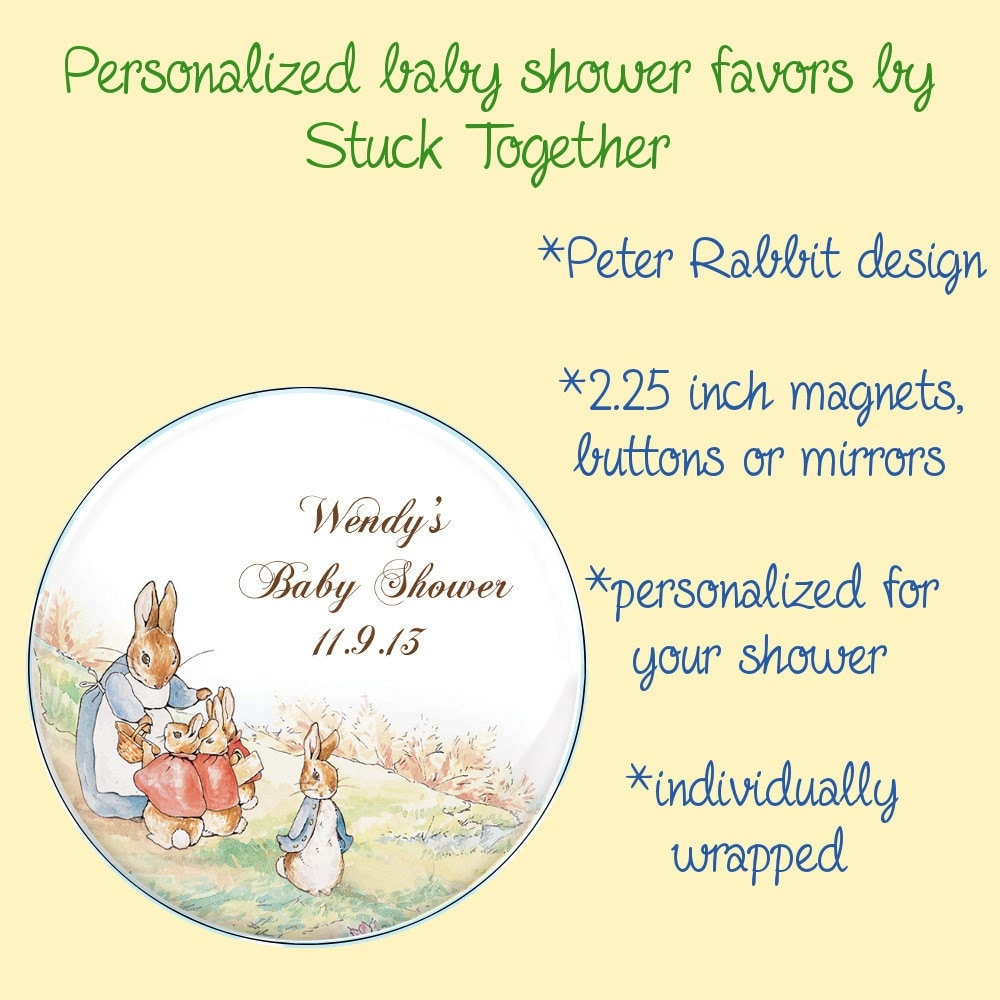 Peter Rabbit Baby Shower Favors 2.25 Inch Magnets Buttons