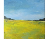 Abstract Landscape  Modern Minimalist Acrylic Painting on Canvas - 40x40 Yellow,,Greens, Blues.