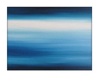 Large Original Abstract Seascape Canvas Contemporary/Modern Painting  -30x40- Blue-Greens, Baby blue, and more