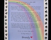 RAINBOW Bridge pet dog cat MEMORIAL n hand painted white with Black Paw Prints  frame customize w name 8x10