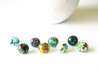Surprise Earring Grab Bag, Mystery Jewelry, Titanium Posts, Stud, Lampwork Glass, Mulitcolor, Nickel Free, Black, Blue, White, Green, Yellow