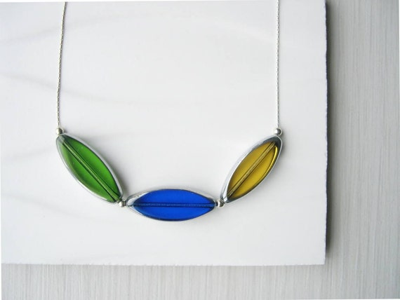 Modern Jewelry, Nickel Free Necklace, Royal Blue, Green, Amber Yellow, Sterling Silver Jewellery, Czech Glass, Contemporary