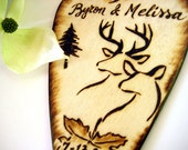 Buck and Doe Wedding cake topper - Blended family, Fawn, with child, Camo, deer hunting, tree, Leaf, PYROGRAPHY, Heart - Personalizable