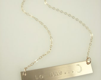 Moon Bar Necklace - Personalized Gold Bar Necklace - Nameplate Necklace - Hand Stamped Jewelry
