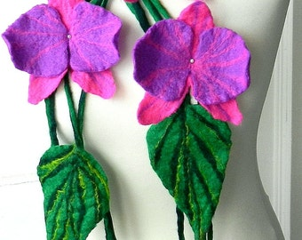 sale  sale  Felted Flower, Hand Felted , Wool Jewelry felted NECKLACE/belt