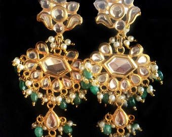Gold earrings Kundan,Pearl and Green Jade earrings,Chandelier,Indian jewelry by Taneesi