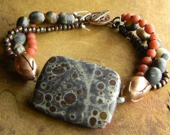 Southwestern Beaded Jewelry Jasper Bracelet Copper Red Rustic Boho Bohemian OOAK