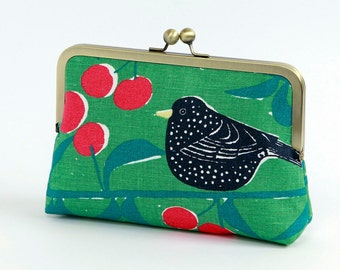 SALE-Bird on green floral clutch, BagNoir, Wedding clutch, Bridesmaid gift idea, Evening purse, Bridesmaid clutch