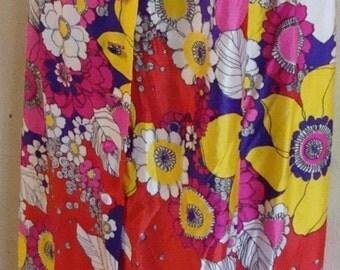 SALE Flower Power Hippie Maxi Skirt 1960s LeVoy's womens size small
