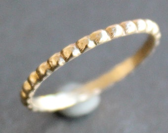 14K Solid Gold Beaded Ring - Simple Dotted Band - Bubble Ring (Size 2 - 10)