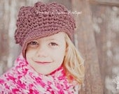Girl's Slouch Hat, Crochet Slouchy Hat, Newspaper Hat for Girls, Brown, Cotton, 5T to Preteen Hat